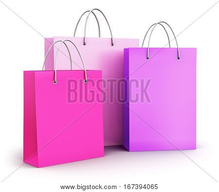 3D render illustration of the group of pink color fashion paper shopping bags isolated on white background