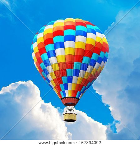3D render illustration of color hot air balloon with gondola basket outdoors in the blue sky with clouds