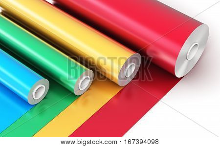 3D render illustration of the rolls of color PVC polythene plastic tape or foil isolated on white background