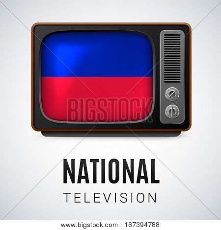 Vintage TV and Flag of Haiti as Symbol National Television. Button with Haitian flag