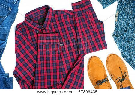 Flat lay menswear on white background top view.