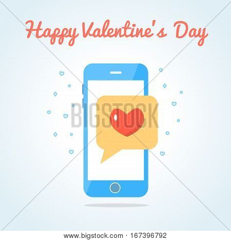 Smartphone with sealed love messege. Valentine s day card. Flat design. Vector illustration.