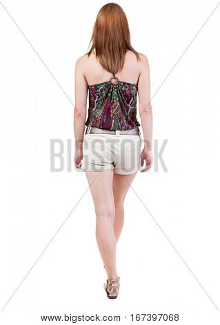 back view of walking  woman in shorts. beautiful blonde girl in motion.  backside view of person.  Rear view people collection. Isolated over white background.
