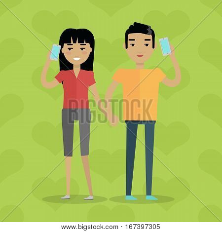 Talking on phone vector concept. Flat design. Telephone addiction. Smiling couple holding hands and talking on mobiles. Conversation and communication with relatives. On green background with hearts