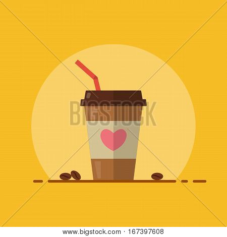 Takeaway coffee in a disposable cup with straw. Coffee beans. Flat design. Vector illustration.