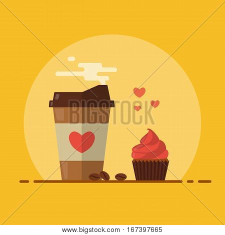 Takeaway coffee with cupcake and a pinch of love. Coffee beans. Flat design. Vector illustration.