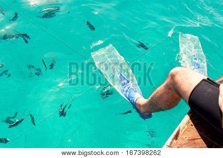 Male diver sitting in flippers on a background of blue water with fishes