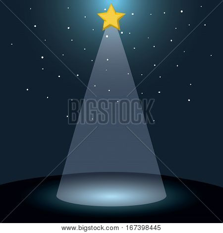 color background with dark sky and bethlehem star vector illustration