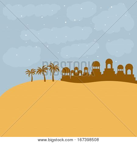 color background in desert of bethlehem vector illustration