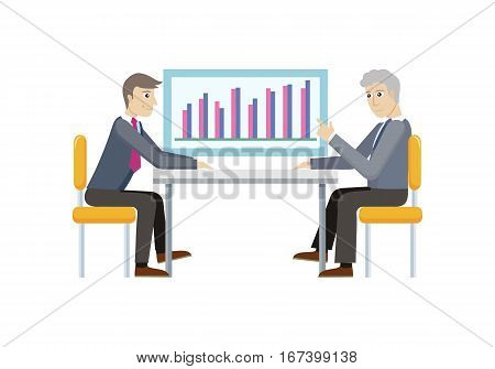 Two strategic management managers demonstrating sales on chart diagram isolated. Strategic planning, marketing, thinking, vision, business strategy, marketing and planning, finance. Vector