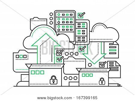 Files archiving, backup - vector modern flat line design illustration with archivation process, boxes, clouds, arrows