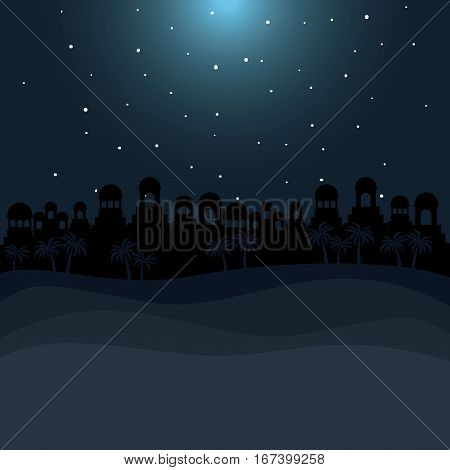 color background in desert night of bethlehem vector illustration