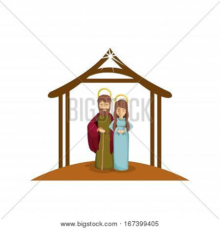 colorful image with virgin mary and saint joseph embraced under manger vector illustration