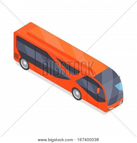 City bus isometric projection icon. Red autobus vector illustration isolated on white background. Public transport. For game environment, traffic infographics, logo, web design