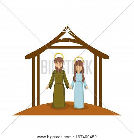 colorful image with virgin mary and saint joseph holding hands under manger vector illustration