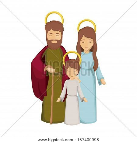 colorful image with jesus child and virgin mary and saint joseph vector illustration