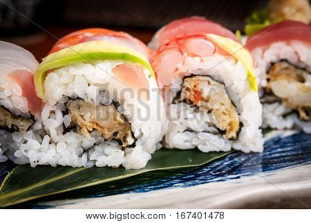 detail of fresh and healty sushi rolls in a japanese restaurant