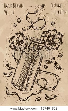 Graphic still life with perfume bottle, ribbon and flowers. Hand drawn engraved illustration. Vintage drawing in sketch style