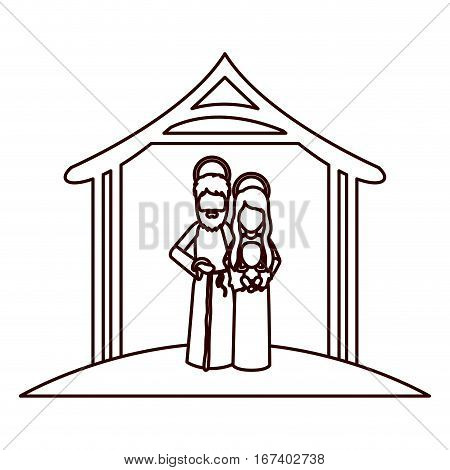 monochrome contour with saint joseph and virgin mary with baby in arms under manger vector illustration