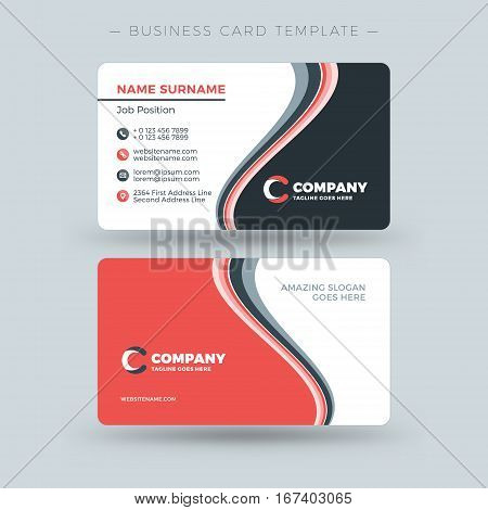 Double-sided Business Card Template With Abstract Red And Black Waves Background. Vector Illustratio
