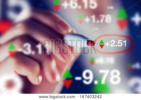 Businesswoman tracking stock market indicators business trade and economy concept