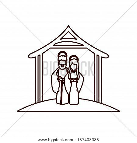 monochrome contour with virgin mary and saint joseph embraced under manger vector illustration