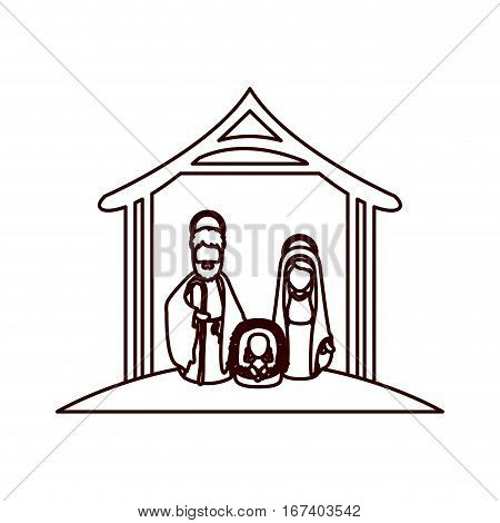 monochrome contour with virgin mary and saint joseph and jesus in crib under manger vector illustration