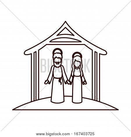 monochrome contour with virgin mary and saint joseph holding hands under manger vector illustration