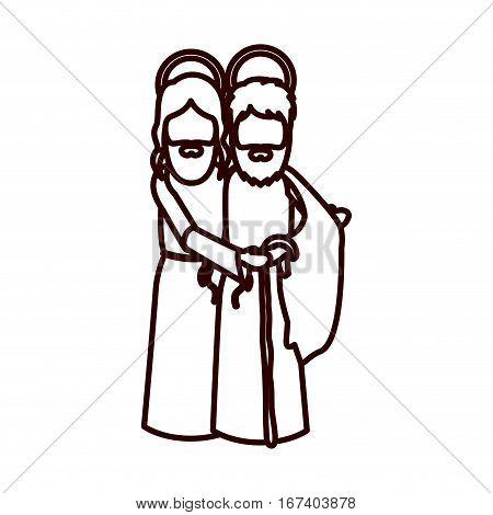 monochrome contour with saint joseph and jesus embraced vector illustration