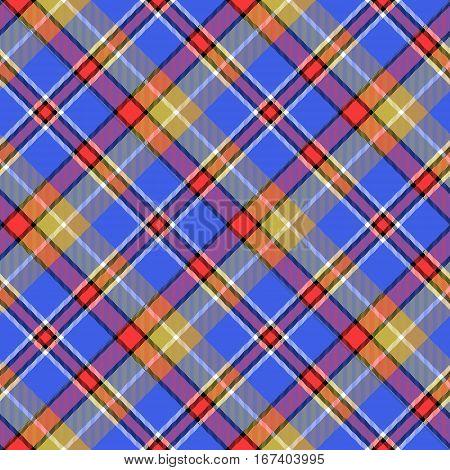 Blue madras bright color tartan seamless fabric texture. Vector illustration.