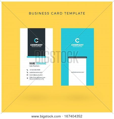 Modern Creative Vertical Double-sided Business Card Template. Flat Design Vector Illustration. Stati