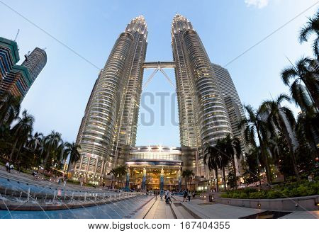 KUALA LUMPUR MALAYSIA - FEBRUARY 22 2013 : Petronas Twin Towers - main architectural landmark of KL and Malaysia
