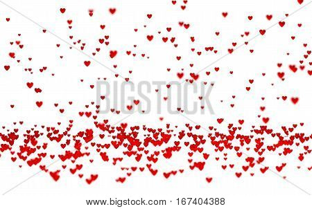 3D illustration of Lots of Tiny Red Hearts with a Defocus Effect with a white background