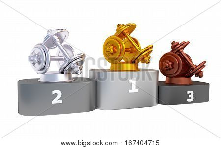3D illustration of Dumbbell Podium with Gold Silver and Bronze Trophy with white background