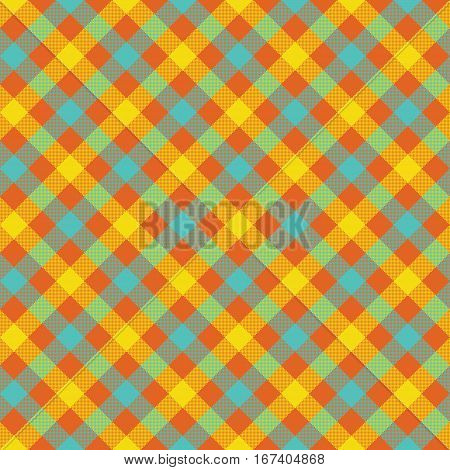 Colored check plaid fabric texture seamless pattern. Vector illustration. EPS 10.
