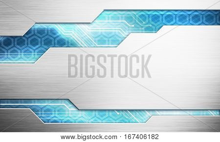 Abstract digital image technology interface concept witn circuit microchip background on metal plate