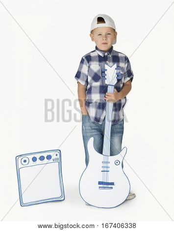 Portrait of a Little Blond Caucasian Boy with Guitar Isolated