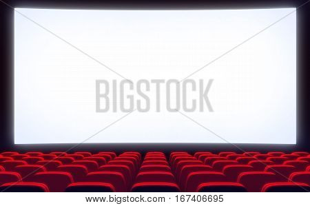 Empty cinema hall and white screen. 3d illustration