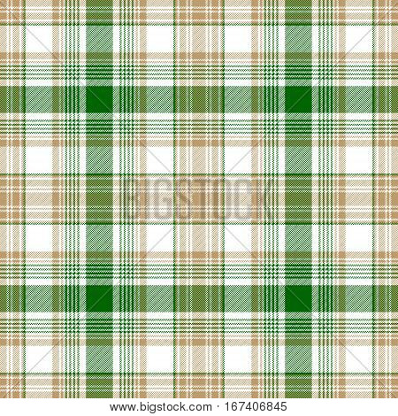 Green gold white check fabric texture seamless pattern. Vector illustration.