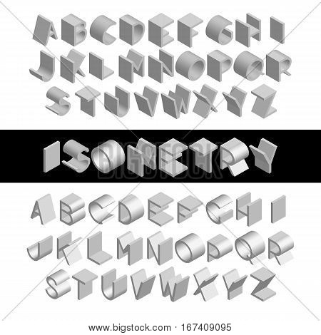 Set the left and right orientation monochrome isometric font