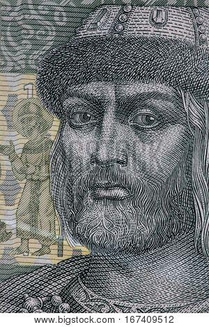 Prince Vladimir portrait on Ukrainian banknotes macro shot