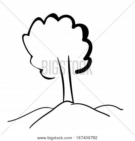 silhouette tree with trunk flat icon vector illustration