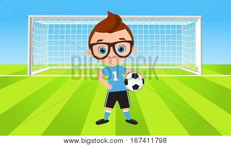 Young Boy. Kid Playing Football. Vector Illustration Eps 10 Isolated On White Background. Flat Carto