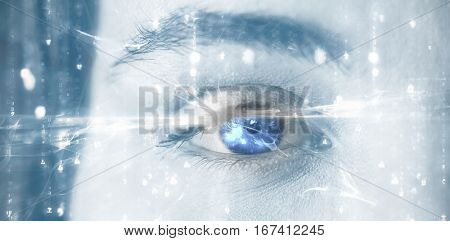 Digitally generated image of abstract pattern against portrait of woman with gray eye