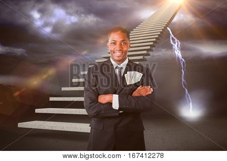 Handsome businessman with dollars in a pocket against lightning strikes on landscape 3d
