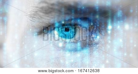 Digitally generated black and blue matrix against close up of man with blue eye