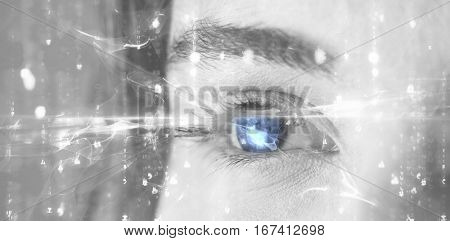 Digitally generated image of abstract pattern against beautiful eye of woman