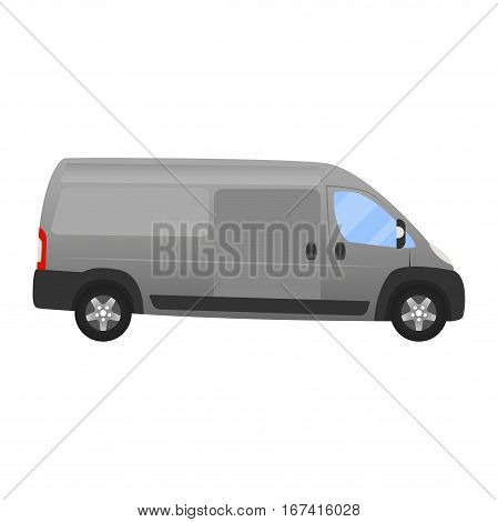 Delivery Van - Layout For Presentation - Vector Template.isolated On White Background, Grey Silver V