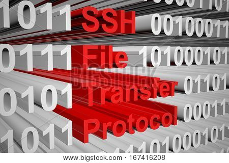 SSH File Transfer Protocol in the form of binary code, 3D illustration