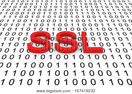 SSL a binary code background 3D illustration